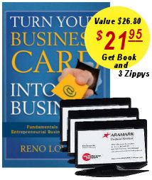 Turn Your Business Card Into Business book and three Zippy Letter Openers for $21.95
