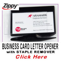 Zippy Business Card Letter Opener with Staple Remover. Personalized with your own business card.