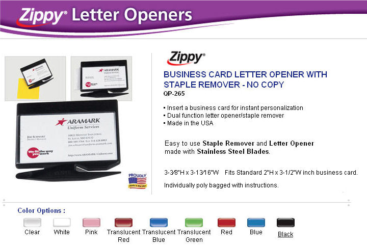 zippy business card letter opener and staple remover